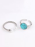 Marble Pattern Round Ring Set 2pcs