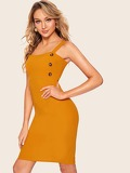 Button Side Split Bodycon Cami Dress