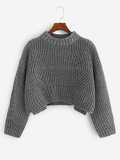 Slit Side Marled Knit Crop Sweater