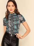 Mock Neck Snakeskin Print Fitted Top
