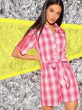 Fishnet Insert Button Front Belted Shirt Romper