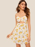 Cut-out Floral Print Cami Dress