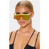 Yellow Flat Top Revo Sporty Sunglasses