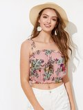 Tie Shoulder Frill Floral Crop Top