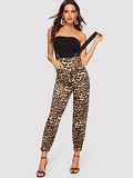 High Waist Patch Pocket Detail Leopard Suspender Pants