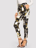 Chain Print Belted Pants