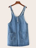 Pocket Front Solid Denim Pinafore Dress
