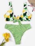 Random Pear Top With Gingham Bikini Set