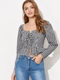 Lace-up Front Plaid Peplum Top