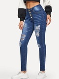 Ripped Button Fly Faded Wash Jeggings