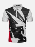 Men Abstract Print Polo Shirt