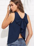 Bow Knot Curved Back Shell Top