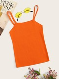 Neon Orange Slim Fitted Crop Cami Top