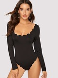 Slim Fitted Scalloped Trim Bodysuit