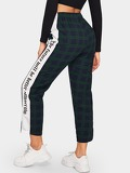 Plaid Letter Print Tape Side Pants