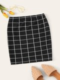 Grid Bodycon Skirt