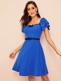 Contrast Binding Bow Front Layered Ruffle Sleeve Belted Dress