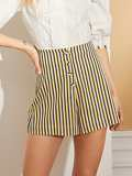 Button Front Striped Shorts