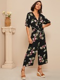 Knot Backless Ruffle Trim Floral Jumpsuit