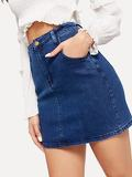 Slant Pocket Bodycon Denim Skirt