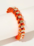 Two Tone String & Metal Woven Bracelet 1pc