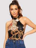 Chain Print Halterneck Top