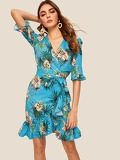 Self Tie Floral Print Ruffle Dress
