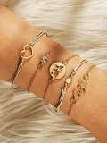 Heart & Geometric Bracelet Set 5pcs