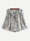 Snakeskin Print Self Tie Shorts
