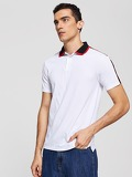 Men Striped Sleeve Polo Shirt