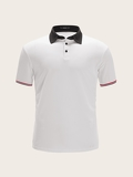 Men Contrast Collar Striped Cuff Polo Shirt