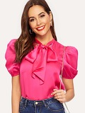 Tie Neck Puff Sleeve Satin Top
