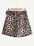 Self Tie Leopard Print Shorts