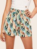 Paperbag Waist Bird & Leaf Print Shorts