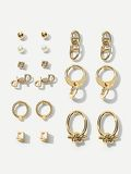 Twist Detail Stud & Hoop Earrings 9pairs