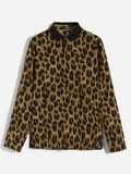 Men Button Front Leopard Print Polo Shirt