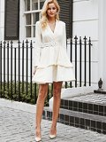 Simplee Layered Hem Notched Neck Belted Dress