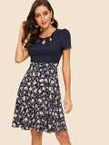 50s Cut Out Insert Floral Fit & Flare Dress
