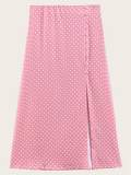 Slit Hem Polka Dot Skirt