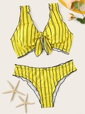 Striped Lettuce Trim Knot Front Bikini Set