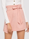 Ruffle Trim Self Belted Wrap Skirt