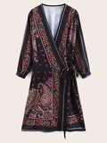 Knot Side Paisley Print Wrap Dress
