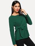 Knot Front Asymmetrical Solid Top