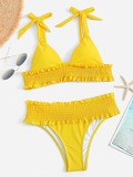 Shirred Hem Self Tie Bikini Set