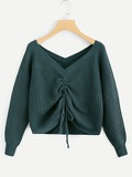 Drawstring Detail Solid Sweater