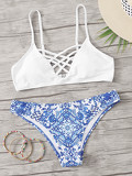Criss Cross Front Top With Porcelain Print Bikini