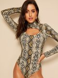 Cut-out Snakeskin Print Skinny Bodysuit