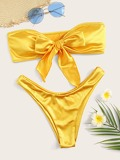 Neon Yellow Satin Bandeau With High Cut Bikini