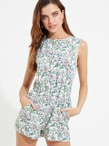 Floral Sleeveless Button Playsuit