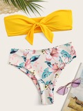 Knot Front Bandeau With Tropical High Waist Bikini
